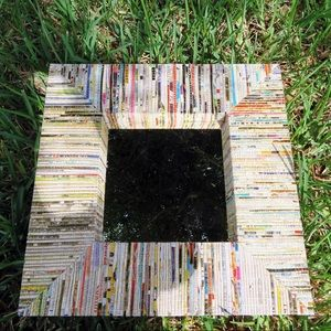 "16"" recycled newspaper decorative square mirror"